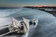 February 10 - - Icebergs floating around waters edge on the beach of Fellsfjara, often called Diamond beach due to the ice looking like large chunks of beautiful diamonds.<br /> <br /> <br /> Ice beach, Iceland