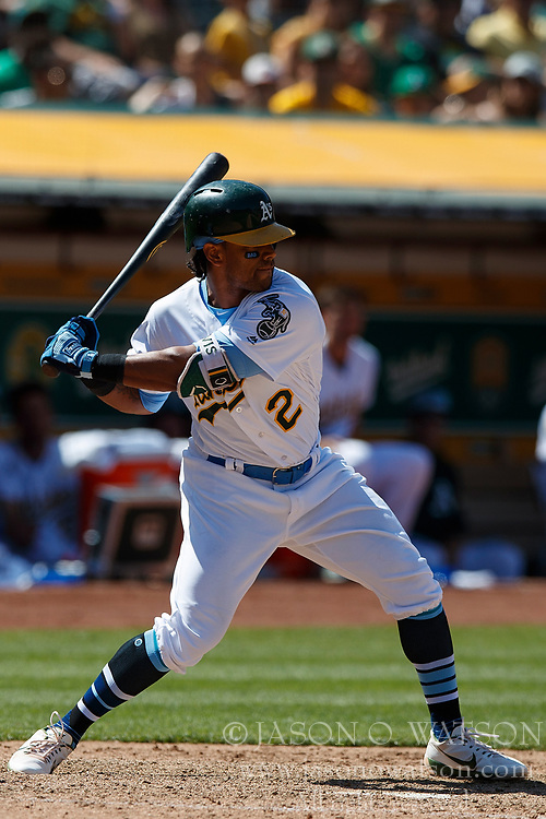 OAKLAND, CA - JUNE 17: Khris Davis #2 of the Oakland Athletics at bat against the Los Angeles Angels of Anaheim during the ninth inning at the Oakland Coliseum on June 17, 2018 in Oakland, California. The Oakland Athletics defeated the Los Angeles Angels of Anaheim 6-5 in 11 innings. (Photo by Jason O. Watson/Getty Images) *** Local Caption *** Khris Davis