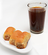Black coffee and baklava Mideastern dessert