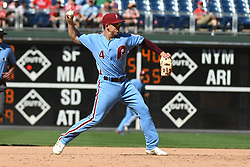 June 14, 2018 - Philadelphia, PA, U.S. - PHILADELPHIA, PA - JUNE 14: Philadelphia Phillies Infield Scott Kingery (4) throws to first during the MLB baseball game between the Philadelphia Phillies and the Colorado Rockies on June 14, 2018 at Citizens Bank Park in Philadelphia, PA. The Phillies won 9-3. (Photo by Andy Lewis/Icon Sportswire) (Credit Image: © Andy Lewis/Icon SMI via ZUMA Press)