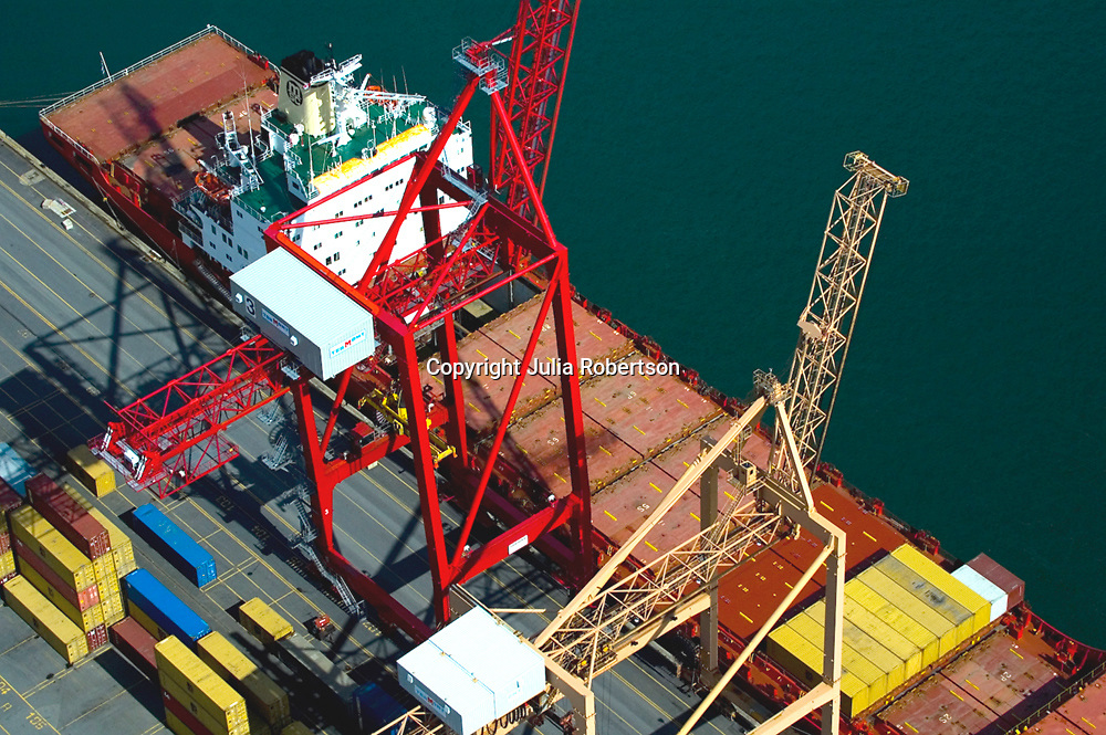 Aerial Photograph Container Ship  in the Port of Montreal, Canada