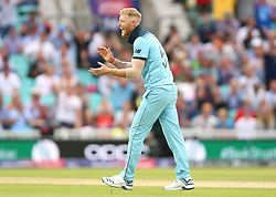 England's Ben Stokes celebrates the final wicket of South Africa's Imran Tahir during the ICC Cricket World Cup group stage match at The Oval, London.