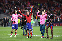May 3, 2018 - Madrid, Spain - ANTOINE GRIEZMANN of Atletico de Madrid celebrates victory during the UEFA Europa League, semi final, 2nd leg football match between Atletico de Madrid and Arsenal FC on May 3, 2018 at Metropolitano stadium in Madrid, Spain (Credit Image: © Manuel Blondeau via ZUMA Wire)