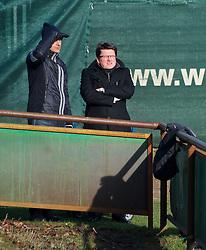 13.02.2015, Trainingsgelände am Weserstadion, Bremen, GER, 1. FBL, SV Werder Bremen, Taining, im Bild 13.02.2015, Trainingsgelaende am Weserstadion, Bremen, GER, 1. FBL, Training SV Werder Bremen, im Bild, von links, Klaus Filbry (Geschäftsführer Marketing, Management und Finanzen SV Werder Bremen) und Dr. Hubertus Hess-Grunewald (Präsident und Geschäftsführer SV Werder Bremen) verfolgen das Training // during the training session on the training ground of the German Bundesliga Club SV Werder Bremen at the Trainingsgelände am Weserstadion in Bremen, Germany on 2015/02/13. EXPA Pictures © 2015, PhotoCredit: EXPA/ Andreas Gumz<br /> <br /> *****ATTENTION - OUT of GER*****