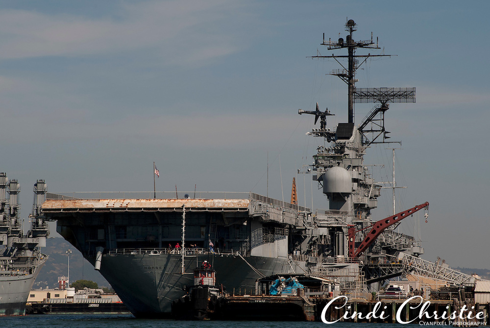 The USS Hornet aircraft carrier, now a museum, Alameda, Calif., is flanked by other military vessels on Saturday, Sept. 17, 2011.  (© 2011 Cindi Christie/Cyanpixel Photography)