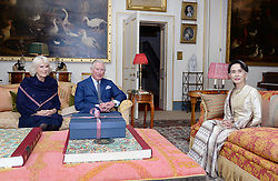 May 5, 2017 - London, London, United Kingdom - Image licensed to i-Images Picture Agency. 05/05/2017. London, United Kingdom. The Prince of Wales and the Duchess of Cornwall greet Burma's de facto leader Aung San Suu Kyi  ahead of their meeting at Clarence House in London.  Picture by ROTA / i-Images UK OUT FOR 28 DAYS (Credit Image: © Rota/i-Images via ZUMA Press)
