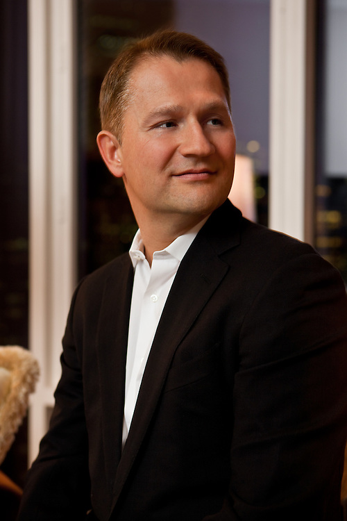 Portrait of Guerman Aliev, Chairman and CEO of Altpoint Capital and Chairman of Ford Models Inc, at his penthouse on 57th Street, New York City.