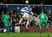 Football - 2018 / 2019 Emirates FA Cup - Fifth Round: Queens Park Rangers vs. Watford<br /> <br /> Jordan Cousins (Queens Park Rangers) rises to head forward at Loftus Road<br /> <br /> COLORSPORT/DANIEL BEARHAM