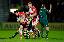 Gloucester Winger (#14) Shane Monahan is tackled by Leicester Flanker (#6) Jamie Gibson during the first half of the match - Photo mandatory by-line: Rogan Thomson/JMP - Tel: Mobile: 07966 386802 - 29/11/2013 - SPORT - RUGBY UNION - Kingsholm Stadium, Gloucester - Gloucester Rugby v Leicester Tigers - Aviva Premiership.