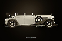 The Maybach DS-8 Zeppelin from 1935 looks nothing like a modern car and that's what makes it so special. This painting depicting a Maybach DS-8 Zeppelin from 1935 shows the Maybach with the roof open which is done very little. This painting is therefore unique of a very rare Maybach classic.<br /> <br /> This painting of a Maybach DS-8 Zeppelin from 1935 can be printed very large on different materials. –<br /> <br /> BUY THIS PRINT AT<br /> <br /> FINE ART AMERICA<br /> ENGLISH<br /> https://janke.pixels.com/featured/maybach-ds-8-black-and-white-jan-keteleer.html<br /> <br /> WADM / OH MY PRINTS<br /> DUTCH / FRENCH / GERMAN<br /> https://www.werkaandemuur.nl/nl/shopwerk/Maybach-DS-8/743616/132?mediumId=11&size=75x50<br /> <br /> -