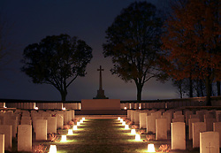 10 November 2018. Serre Road Cemetery No.1, near Serre, Somme, France. <br /> Remembering those who perished in the Great War. <br /> There are 2,126 British, 120 Canadian, 147 Australian, 27 New Zealand, 6 South African and 1 Newfoundland casualties of the First World War buried or commemorated in this cemetery. 1,728 of the graves are unidentified. Every year local residents light the cemetery with lanterns in a mark of respect to the dead.<br /> Photo©; Charlie Varley/varleypix.com