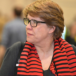 SCOTTISH PARLIAMENTARY ELECTION 2016 – Lesley Hinds, Scottish Labour Party, watching the vote counting  at Royal Highland Centre, Edinburgh<br />(c) Brian Anderson   Edinburgh Elite media