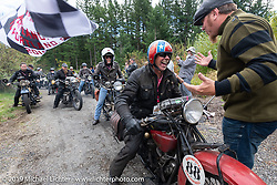 Doug Wothke crosses the finish line at the Skamania Lodge on his 1928 Indian 101 Scout at the end of Motorcycle Cannonball coast to coast vintage run. Stage 15  (51 miles - the Grand Finish) from The Dalles to Stevenson, OR. Sunday September 23, 2018. Photography ©2018 Michael Lichter.