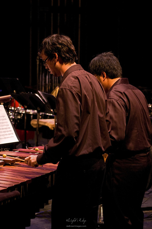 Two play the marimba during Rowan University's presentation of The Percussion Ensemble and Marimba Band.