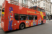 Official sightseeing tour bus operating, but without customers 25th May 2021 in London, United Kingdom. As the coronavirus lockdown continues its process of easing restrictions, more and more people are coming to the West End as more businesses open.