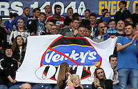 Blackburn Rovers fans protest against the club's owners during the game<br /> <br /> Photographer David Shipman/CameraSport<br /> <br /> Football - The EFL Sky Bet Championship - Blackburn Rovers v Burton Albion - Saturday 20 August 2016 - Ewood Park - Blackburn<br /> <br /> World Copyright © 2016 CameraSport. All rights reserved. 43 Linden Ave. Countesthorpe. Leicester. England. LE8 5PG - Tel: +44 (0) 116 277 4147 - admin@camerasport.com - www.camerasport.com