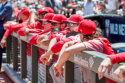 June 3, 2018 - San Francisco, CA, U.S. - SAN FRANCISCO, CA - JUNE 03: Phillies players anticipate the action before the MLB game between the Philadelphia Phillies and San Francisco Giants on June 3, 2018, at AT&T Park in San Francisco, CA. (Photo by Bob Kupbens/Icon Sportswire) (Credit Image: © Bob Kupbens/Icon SMI via ZUMA Press)