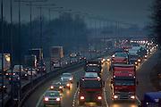 London-bound traffic on M1 Motorway in Northampton, United Kingdom.