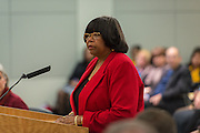 Alma Allen comments during a meeting of the Houston ISD Board of Trustees, January 14, 2016.