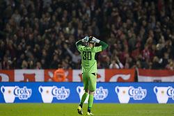 September 19, 2017 - Antwerp, BELGIUM - Lierse's goalkeeper Nathan Goris reacts during a Croky Cup 1/16 final game between Royal Antwerp FC and Lierse, in Antwerp, Tuesday 19 September 2017. BELGA PHOTO KRISTOF VAN ACCOM (Credit Image: © Kristof Van Accom/Belga via ZUMA Press)