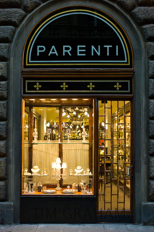 Shop window display of high class Parenti jewellery and silversmith in Via Tornabuoni, in Florence,Tuscany, Italy