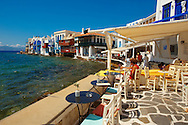 The Venetia neibourhood of the Kastro District of Chora, Mykonos, Cyclades Islands, Greece .<br /> <br /> Visit our GREEK HISTORIC PLACES PHOTO COLLECTIONS for more photos to download or buy as wall art prints https://funkystock.photoshelter.com/gallery-collection/Pictures-Images-of-Greece-Photos-of-Greek-Historic-Landmark-Sites/C0000w6e8OkknEb8