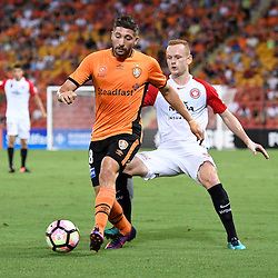 BRISBANE, AUSTRALIA - JANUARY 28: Brandon Borrello of the Roar controls the ball infant of Jack Clisby of the Wanderers during the round 17 Hyundai A-League match between the Brisbane Roar and Western Sydney Wanderers at Suncorp Stadium on January 28, 2017 in Brisbane, Australia. (Photo by Patrick Kearney/Brisbane Roar)