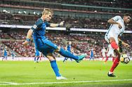 Slovakia (4) Lukas STETINA, (22) Marcus Rashford during the FIFA World Cup Qualifier match between England and Slovakia at Wembley Stadium, London, England on 4 September 2017. Photo by Sebastian Frej.