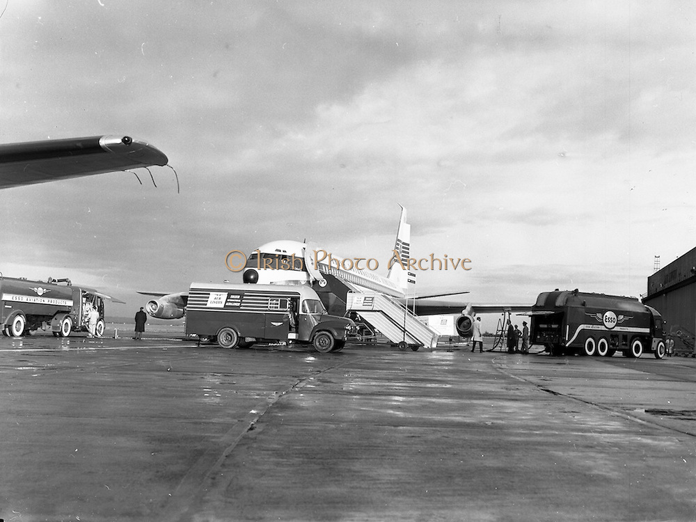 """06/12/1960<br /> 12/06/1960<br /> 06 December 1960<br /> Inaugural flight of new Irish Boeing, Jetliner, """"Padraig"""", to, New York, Image shows the, jet, being, fuelled, by, Esso, fuel, tankers, at, Dublin, Airport,"""