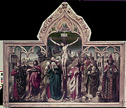 Altarpiece of the Parliament of Paris. Left: St Louis (Louis IX of France) with tabard of fleur-de-lys, and John the Baptist. Right: Charlemagne and St Denis (carrying head) Centre: Christ crucified with three Marys and St John the Apostle. Centre background: Montmartre where Denis was beheaded. Dog represents fidelity of Parliament to Monarchy. Bones at  Golgotha are a mementomori. God surveys all from above. Anonymous 15th century: French School.