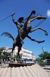 A metal statue of the Cervantes character Don Quixote; in Havana; Cuba,