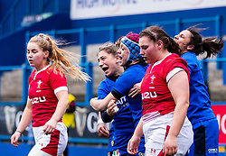 Sofia Stefan of Italy celebrates scoring her sides third try<br /> <br /> Photographer Simon King/Replay Images<br /> <br /> Six Nations Round 1 - Wales Women v Italy Women - Saturday 2nd February 2020 - Cardiff Arms Park - Cardiff<br /> <br /> World Copyright © Replay Images . All rights reserved. info@replayimages.co.uk - http://replayimages.co.uk