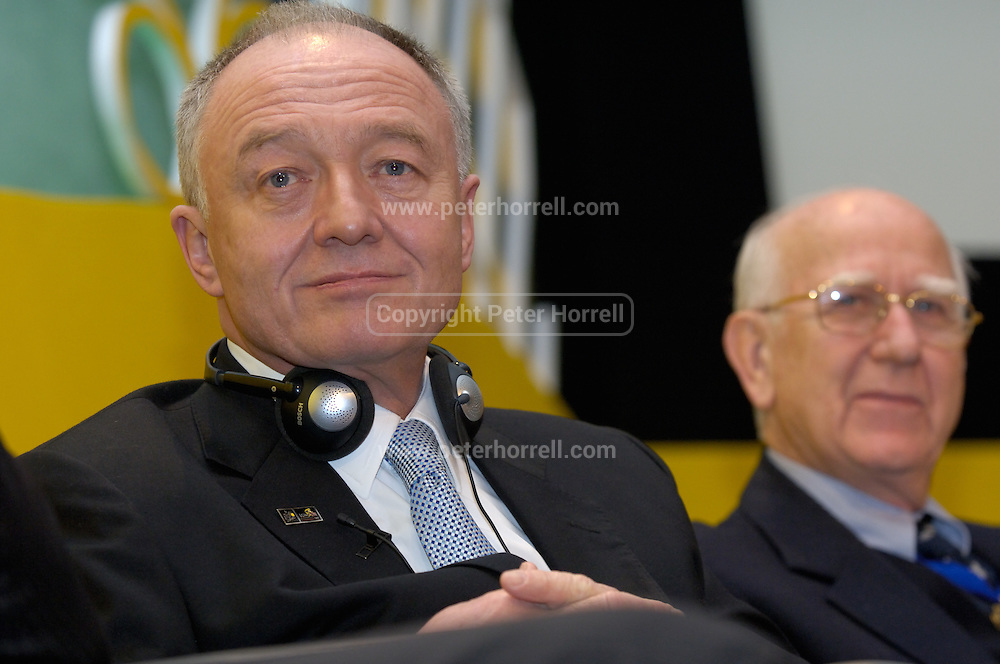 Ken Livingstone (on left), Mayor of London, and Sir Bob Worcester at the launch of the 2007 Tour de France Prologue and Stage 1 in Queen Elizabeth 2 Conference Centre, London.