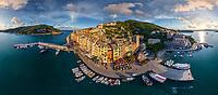 Panoramic aerial view of Porto Venere, Italy