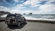 USA, California, Cresent City, a jeep liberty parked at a beach south of Crescent City, California