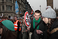 Hundreds of thousands of people from many backgrounds marched through London in protest against the governments cuts. This was marred  by violence by an anarchist minority. London, UK, 26/03/2011