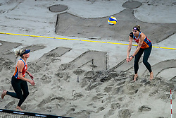Sanne Keizer, Madelein Meppelink in action during the last day of the beach volleyball event King of the Court at Jaarbeursplein on September 12, 2020 in Utrecht.