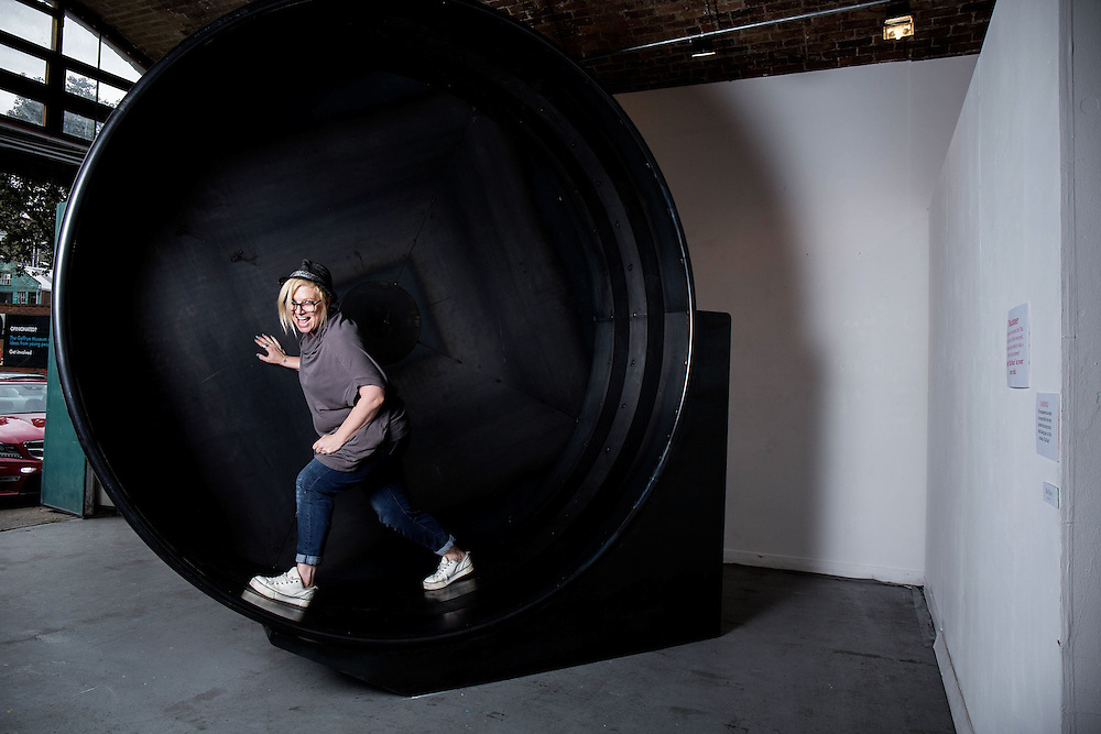 """Sculptor Beth Cullen Kerridge  on """"RatRace 2014"""" during the private view of Beth Cullen's exhibition 'Suits' in Hoxton London on October 01, 2014.<br />  <br /> Beth & Tom co own The Hand and Flowers, the restaurant they founded in Marlow in 2005, eventually became the first pub to be awarded two Michelin stars, and Kerridge's cookbook, Proper Pub Food, has sold more than 250,000 copies. His next volume, Best Ever Dishes, was released last month ahead of a BBC2 television series in October. The couple are about to open a second pub-restaurant."""