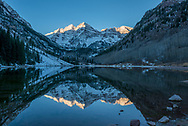 The Maroon Bells at sunrise in late October in Aspen, Colorado.