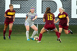 04 November 2016:  Ari Banks(24), Emily Rickett(5), Madison Kimball(16) and Shelby Koch during an NCAA Missouri Valley Conference (MVC) Championship series women's semi-final soccer game between the Loyola Ramblers and the Evansville Purple Aces on Adelaide Street Field in Normal IL