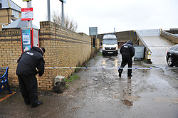 © Licensed to London News Pictures. 05/03/2017<br /> POLICE SEAL OFF THE AREA NEXT TO CHURCH.<br /> Police have sealed off the park from the Broadway and the seafront down to the sea.<br />  The body of a baby has been found on small piece of park land at the back of Sheerness Swimmimg Pool near the Broadway, Sheerness next to St Henry and St Elizabeth Church.<br /> Photo credit :Grant Falvey/LNP
