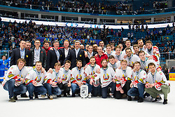 Team Belarus (second place) at ceremony after ice hockey match between Kazakhstan and Hungary at IIHF World Championship DIV. I Group A Kazakhstan 2019, on May 5, 2019 in Barys Arena, Nur-Sultan, Kazakhstan. Photo by Matic Klansek Velej / Sportida