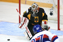 Goalkeeper Robert Muller and Ivan Ciernik of Slovakia at ice-hockey match Germany (played in old replika jerseys from year 1946) vs Slovakia at Preliminary Round (group C) of IIHF WC 2008 in Halifax, on May 05, 2008 in Metro Center, Halifax, Nova Scotia, Canada. Germany won 4:2. (Photo by Vid Ponikvar / Sportal Images)