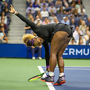 2019 US Open Tennis Tournament- Day Three.  Serena Williams of the United States in action against Catherine McNally of the United States in the Women's Singles Round Two match on Arthur Ashe Stadium at the 2019 US Open Tennis Tournament at the USTA Billie Jean King National Tennis Center on August 27th, 2019 in Flushing, Queens, New York City.  (Photo by Tim Clayton/Corbis via Getty Images)