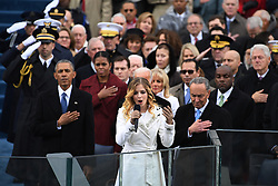 Ex-President Barack Obama listen to the National Anthem sung by 16-year-old Jackie Evancho at the end of the Inauguration Ceremony on January 20, 2017 in Washington, D.C. Donald Trump became the 45th President of the United States. Photo by Pat Benic/UPI