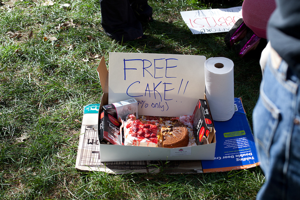 Many different items, like this cake were donated to the demonstrators at the Occupy Charlotte protests. They would eventually go on to set up a fully functional kitchen.