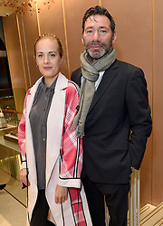 POLLY MORGAN and MAT COLLISHAW at a party to celebrate the collaboration of J&M Davidson and Tanya Lingheld at J&M Davidson, 104 Mount Street, London on 18th October 2016.