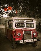 """Bagan bus. This was part of a fleet of WW2 Canadian built Chevy C-15s brought over and used by the Americans, British and Allied forces during the 'Burma Campaign' during World War Two. Many now used by the local """"Balloons over Bagan"""" travel company to take visitors to the morning balloon flights"""