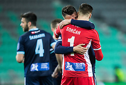 Grega Sorcan of Gorica and Rifet Kapic of Gorica celebrate after winning during football match between NK Olimpija Ljubljana and ND Gorica in Round #26 of Prva liga Telekom Slovenije 2016/17, on March 29, 2017 in SRC Stozice, Ljubljana, Slovenia. Photo by Vid Ponikvar / Sportida