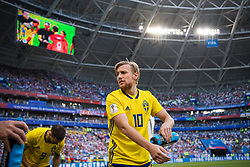 July 7, 2018 - Samara, RUSSIA - 180707 Emil Forsberg of Sweden ahead of the FIFA World Cup quarter final match between Sweden and England on July 7, 2018 in Samara..Photo: Joel Marklund / BILDBYRN / kod JM / 87755 (Credit Image: © Joel Marklund/Bildbyran via ZUMA Press)